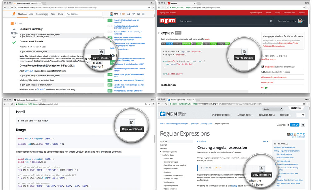 codecopy browser add-on for snippets