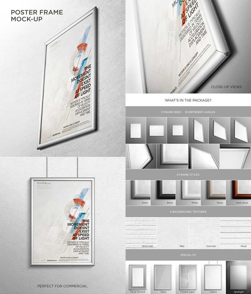 Realistic Photoshop Poster Frame Mock-Up Templates
