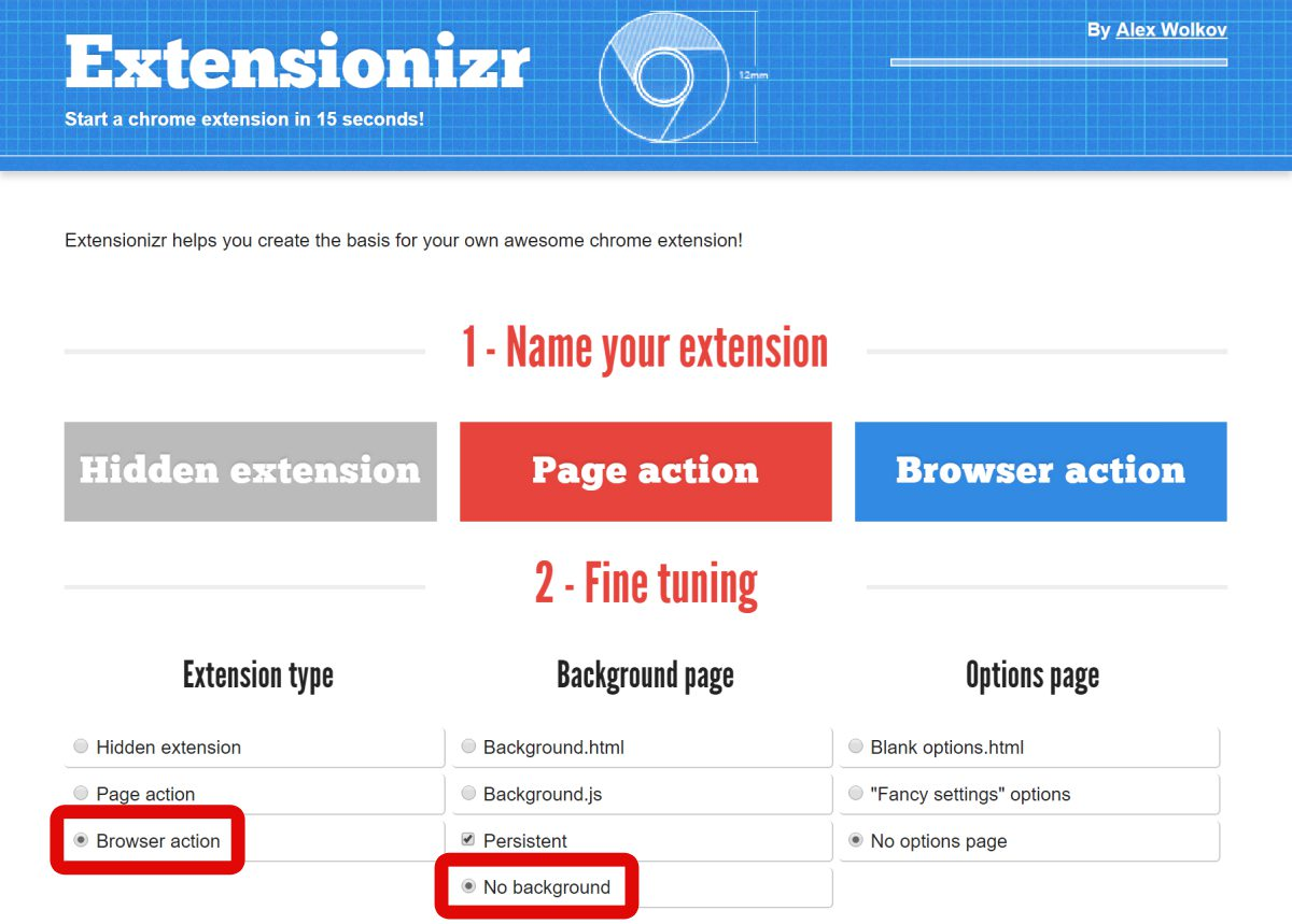 Extensionizr is the best boilerplate generator