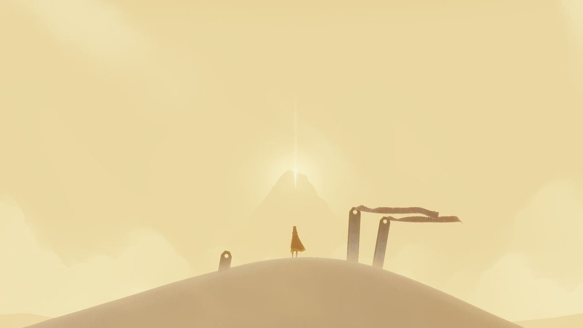 Journey - standing between three pillars with the mountain in the background