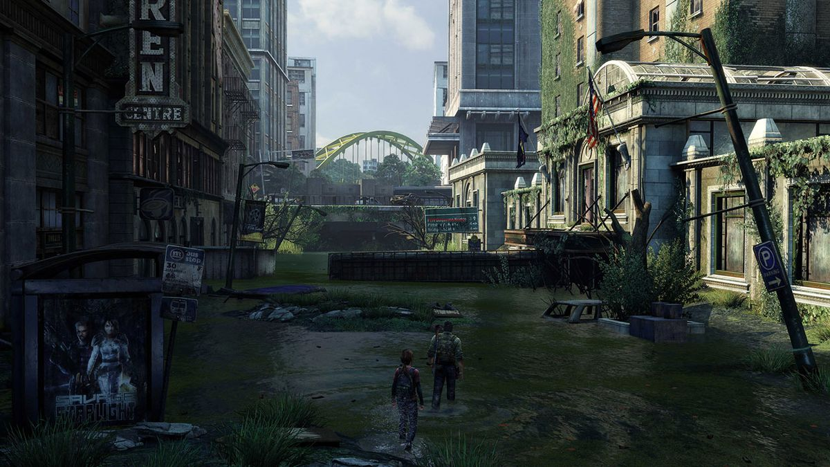 The Last of Us Remastered - Ellie and Joel wandering through a flooded street in downtown Pittsburgh