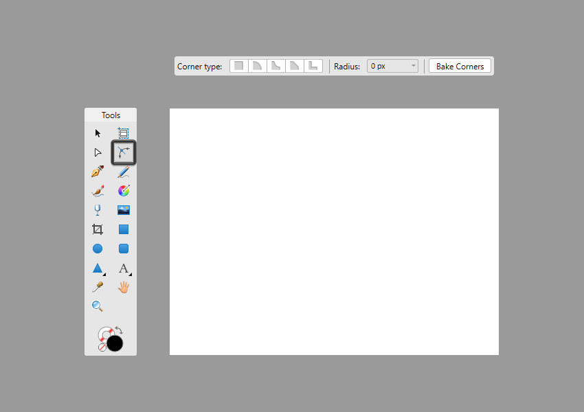 corner tool context toolbar example