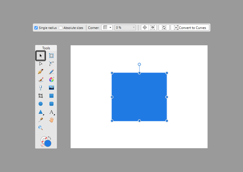 example of rectangle context tool bar