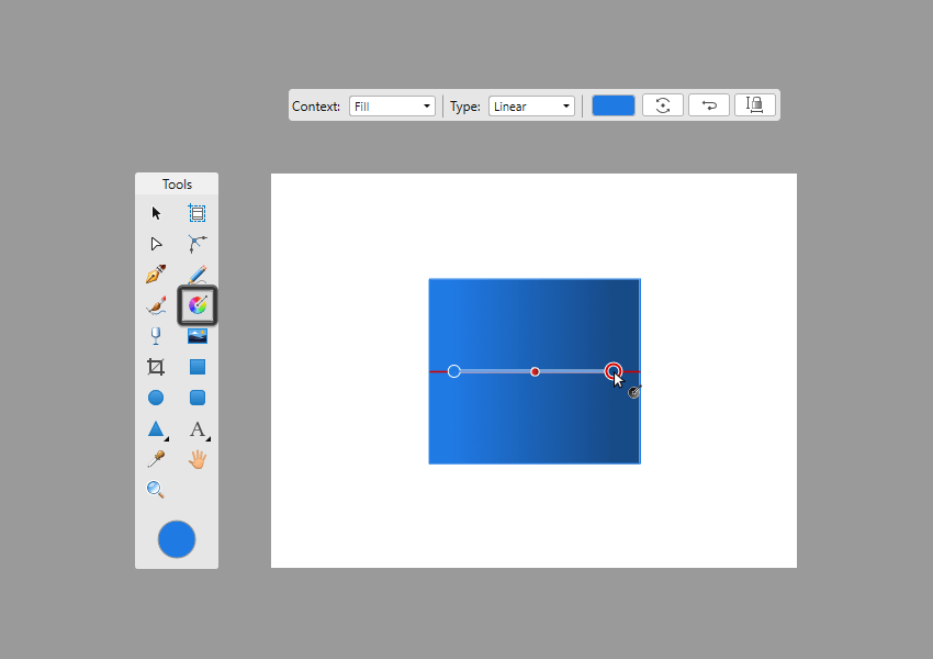 creating the gradient using the click-and-drag method