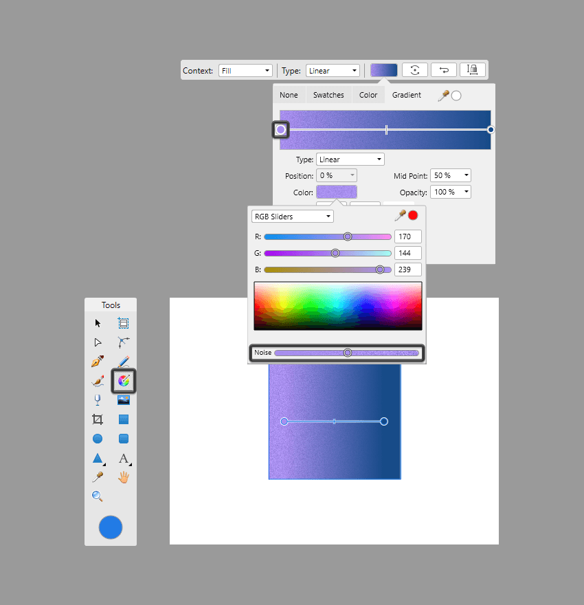 adding texture to the left color stop