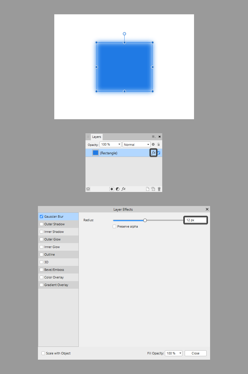 adjusting an effect from the layers panel