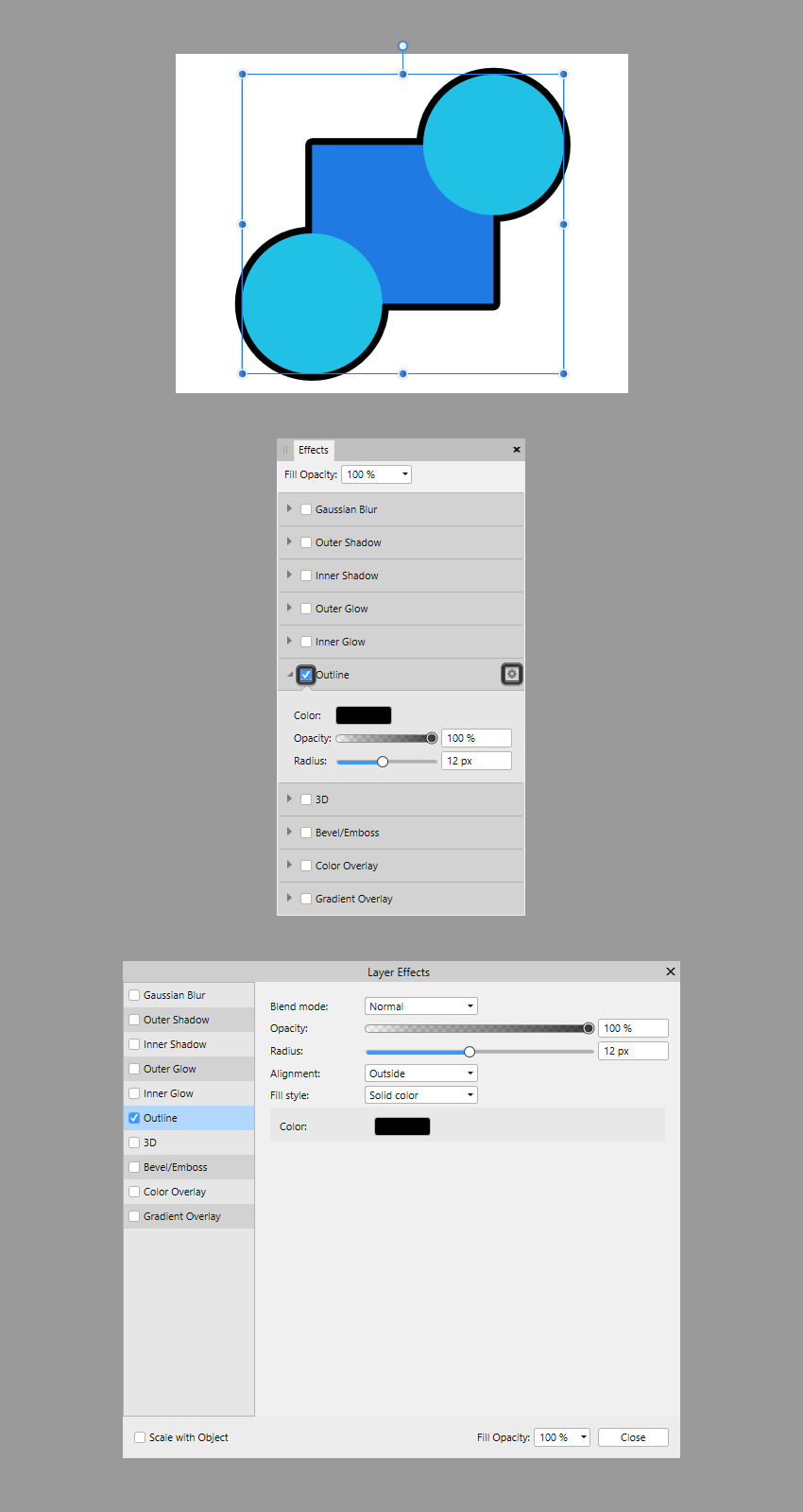 accessing the layer effects through the effects panel