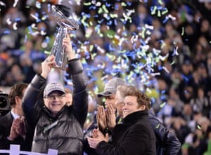 Paul Allen, who owned the Seattle Seahawks celebrates after their Super Bowl win in 2014.