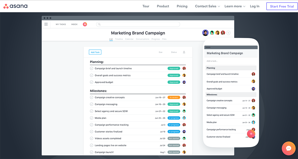 Image of the Asana Project Management Software