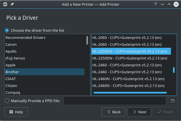 KDE Available Drivers