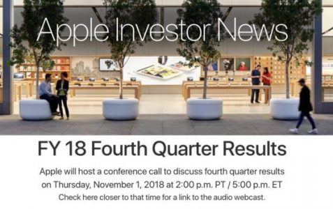 Apple to Announce Q4 2018 Earnings on November 1 | Tech Industry