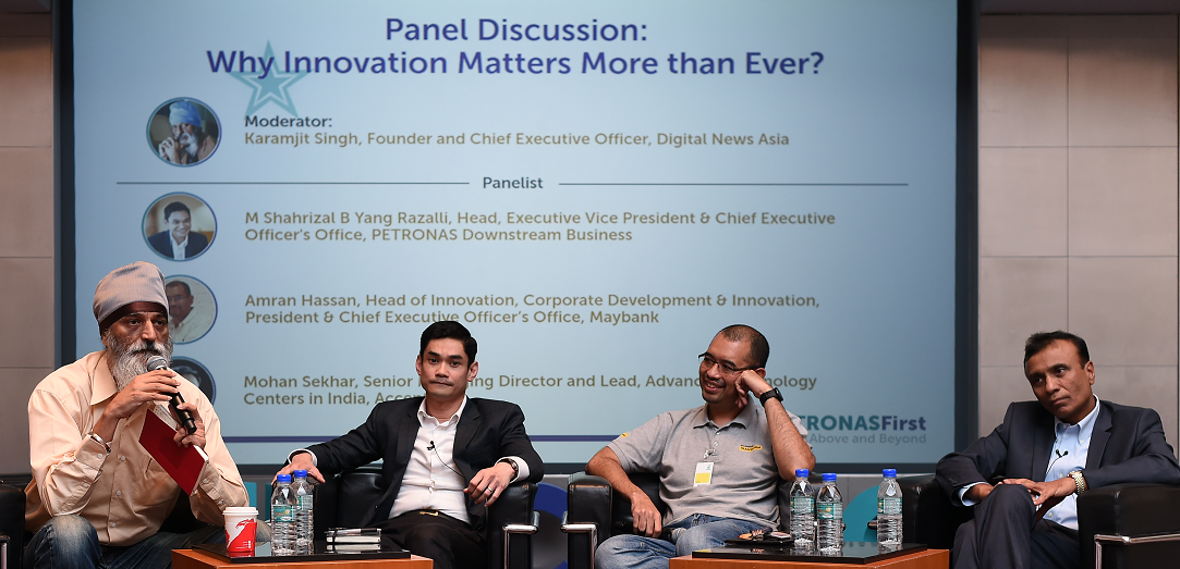 (L to R): Karamjit Singh, moderator; Shahrizal Yang Razalli, head, executive vice president and CEO's downstream office, Petronas; Amran Hassan, head of innovation at Maybank Bhd and Mohan Sekhar, senior managing director and lead, Advanced Technology Centre, Accenture, India.