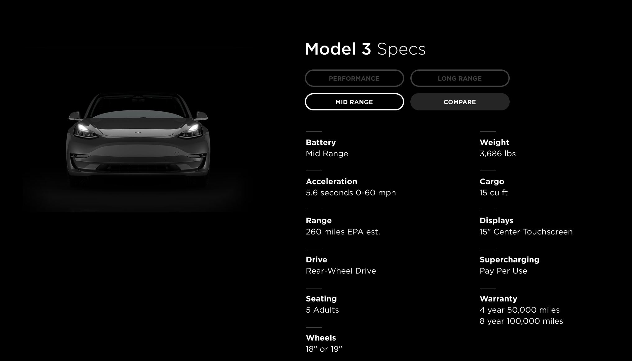Tesla model 3 mid-range