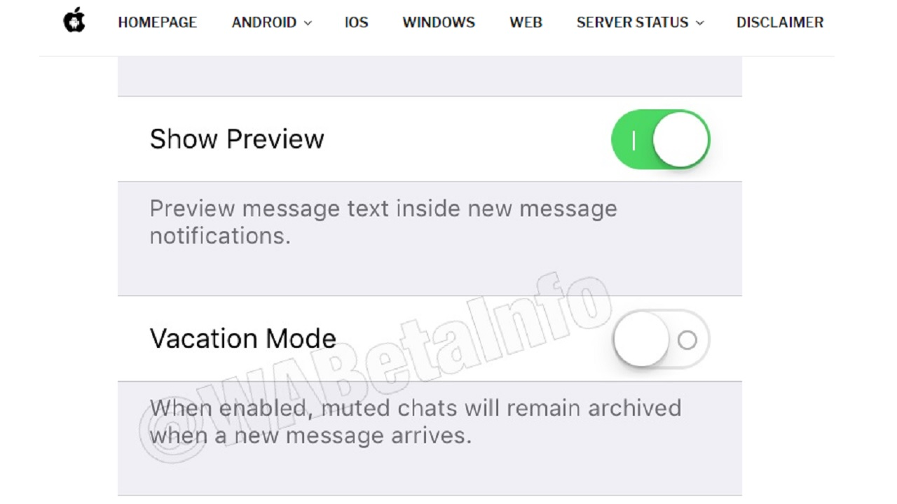 WhatsApp vacation mode feature. Image: WABetaInfo