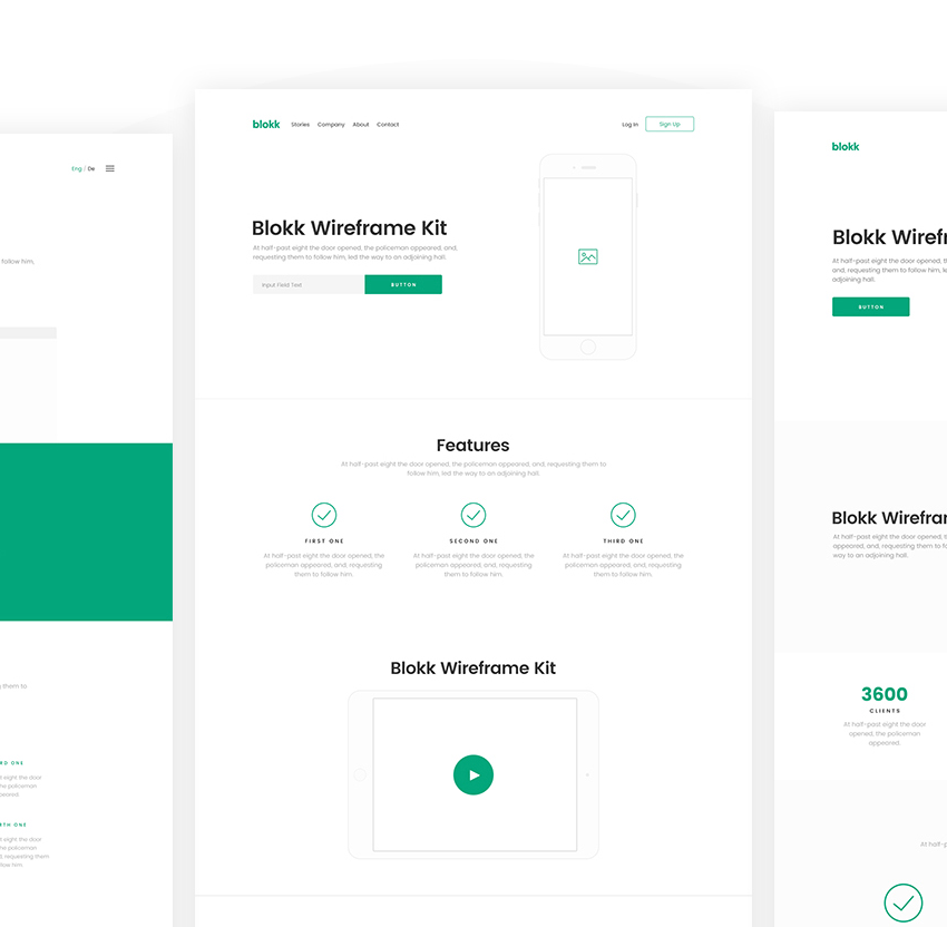 Blokk Wireframe Kit 6 page demos