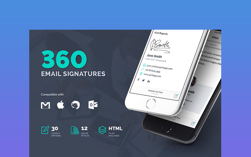 360 Professional Email Signature Templates