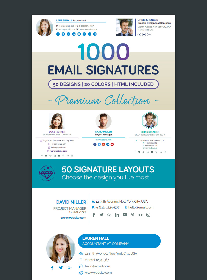 Premium Email Signature Templates Professional Collection