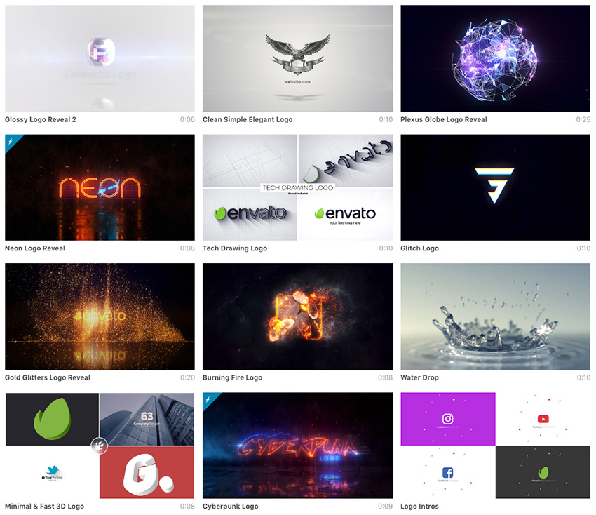 After Effects Logo Animation Examples available for sale on Envato Market