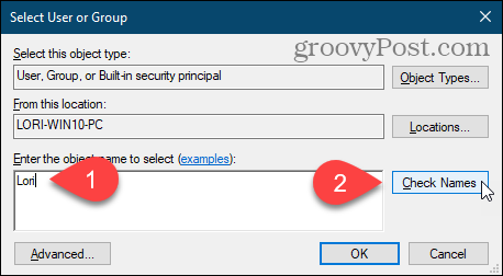 Click Check Names to enter user name on Select User or Group dialog box in Windows Registry