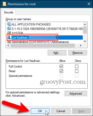 Close the Permissions dialog box in the Windows Registry
