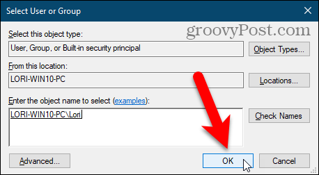 Close the Select User or Group dialog box in the Windows Regisry