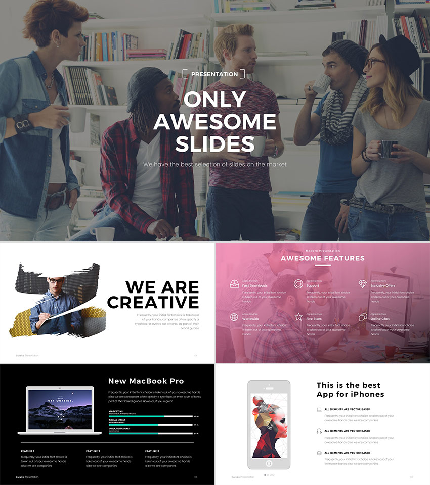 Eureka Cool PPT Template Design With Minimal Designs