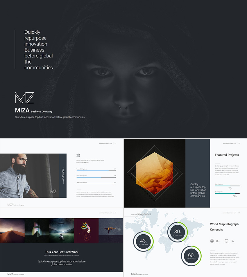 Miza Cool PowerPoint Template With a Clean Style