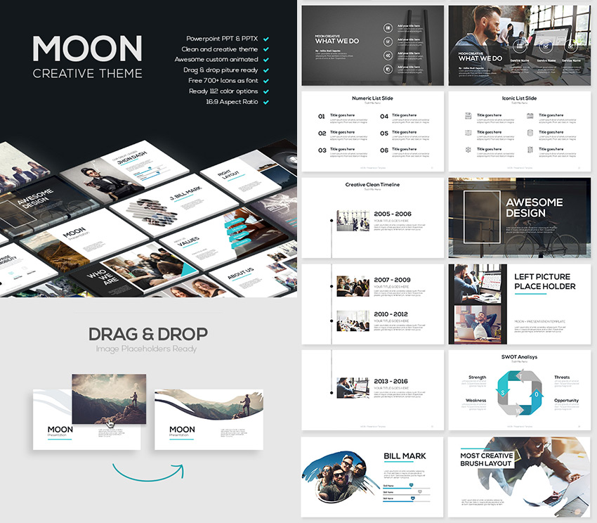 Moon Cool PowerPoint Template With Creative Slides