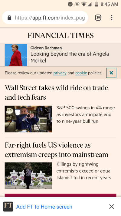 Prompt to add Financial Times PWA on home screen