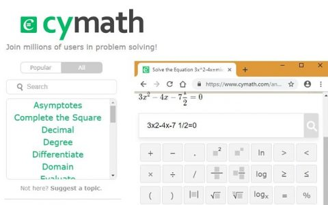Cymath solve quadratic equation step 1