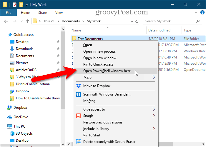 Open PowerShell window here option in Windows