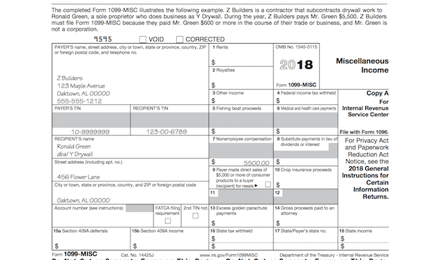 1099 form example  When is tax form 17-MISC due to contractors? | Email Marketing