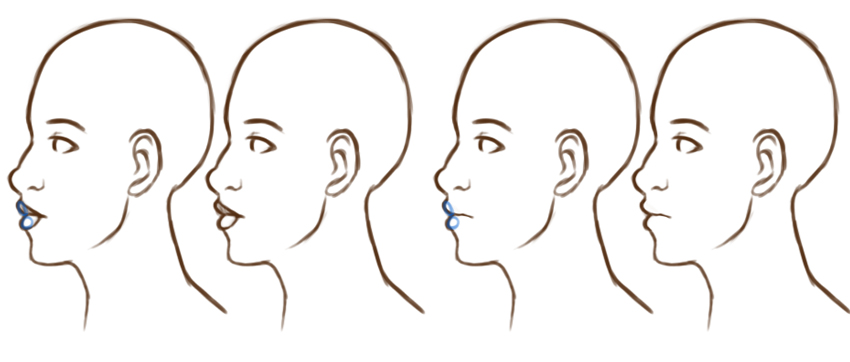 Example of lips from side view