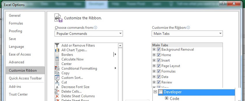 Customize Ribbon with Developer tab