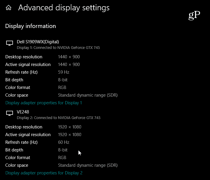 Advanced Display Settings Windows 10