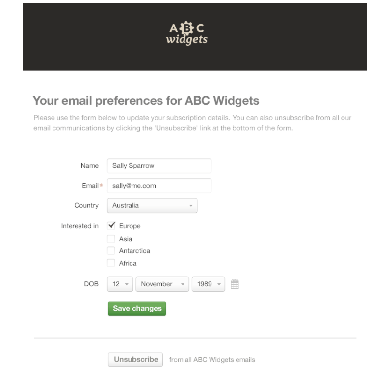 Email Marketing Collect Preference Data