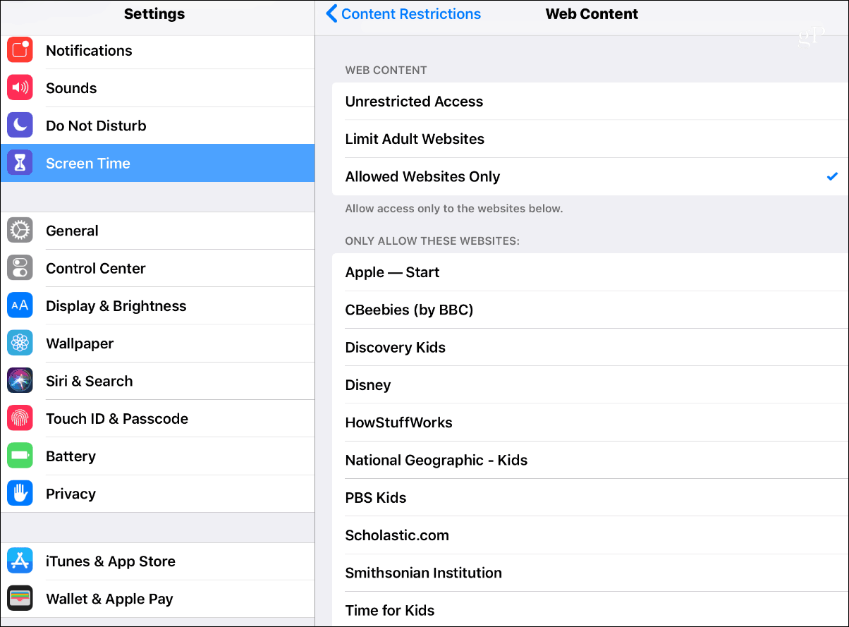 iOS 12 Screen Time Content Restrictions