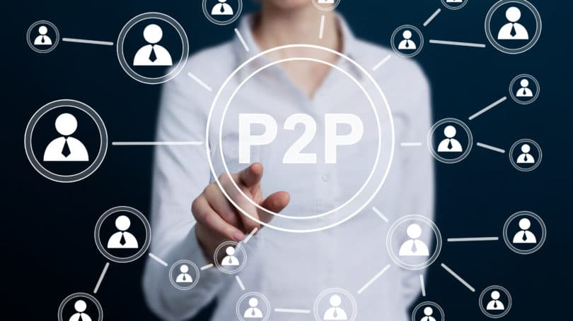 P2p Peer To Peer Lending Icon Woman Pressing Button