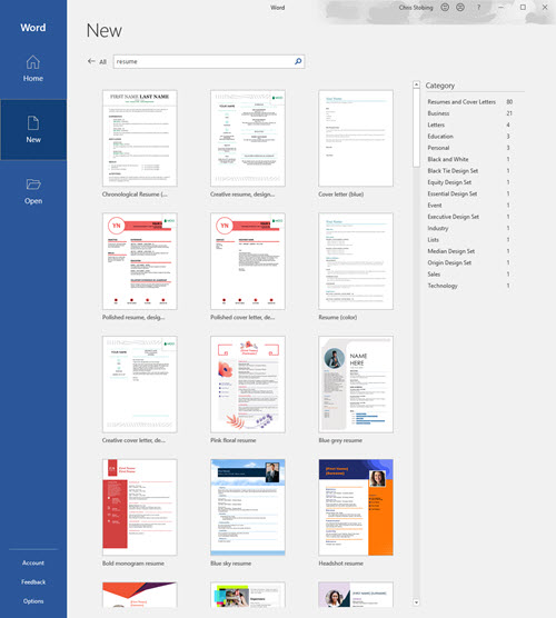 word-resume-template-search