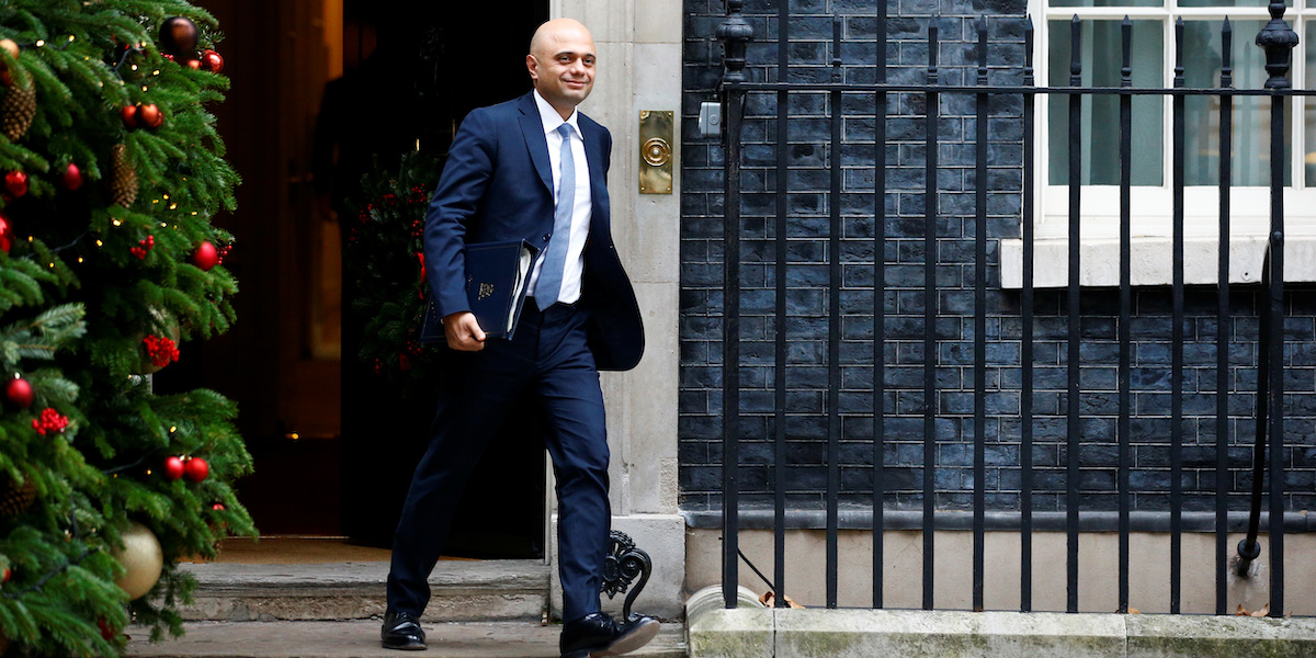 Britain's Home Secretary Sajid Javid leaves Downing Street, London, Britain, December 18, 2018. REUTERS/Henry Nicholls