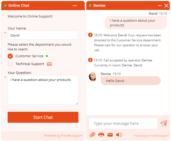 Embedded chat window