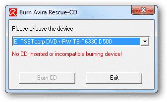 Using Avira Rescue CD