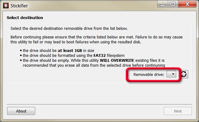 Bitdefender Rescue CD on a USB flash drive