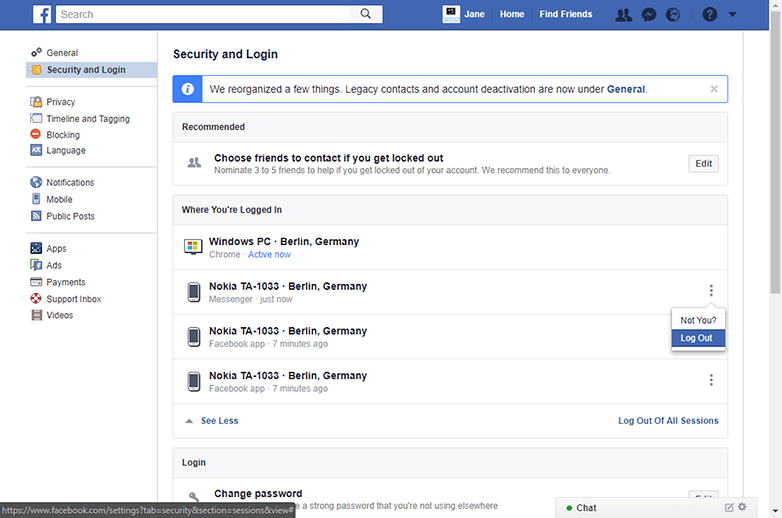 facebook messenger log out pc