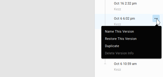 a menu through which you can rename restore or duplicate that version