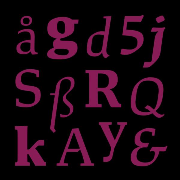 font design xyz-study-04-glyphs