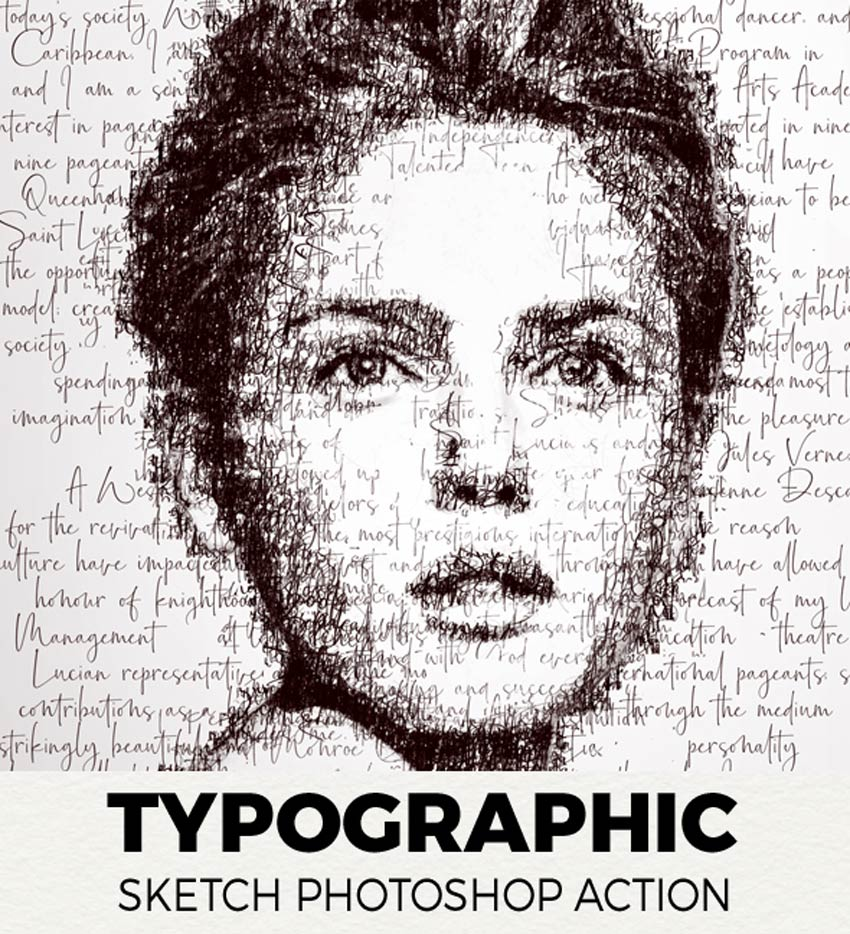 Typographic Sketch Photoshop Action