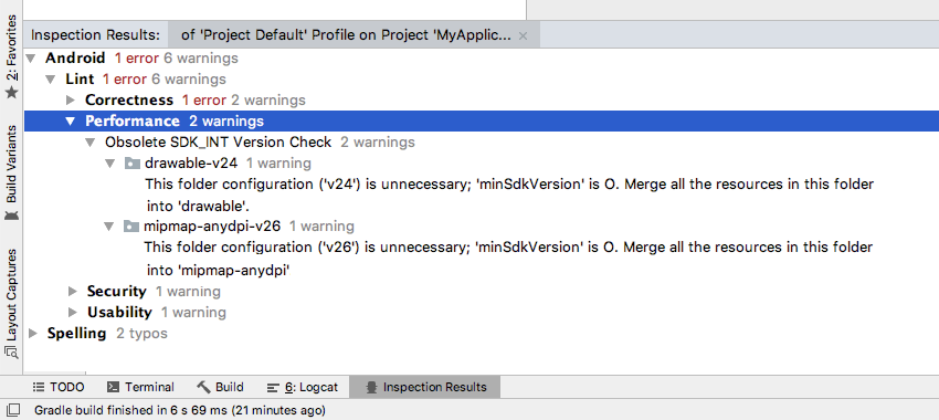 After running a Lint inspection you can check its findings in the Inspection Results window