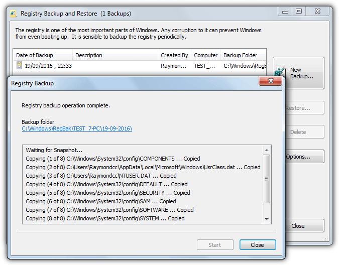Registry Backup and Restore