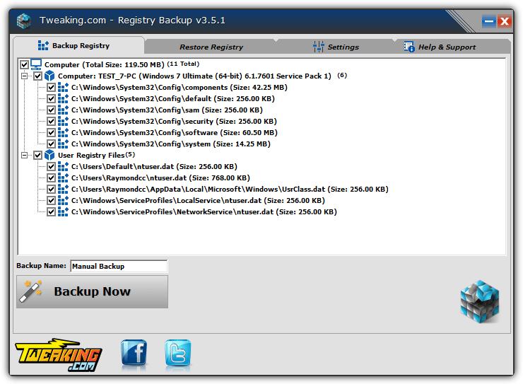 Tweaking.com Registry Backup